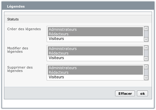 Configuration du plugin Légendes
