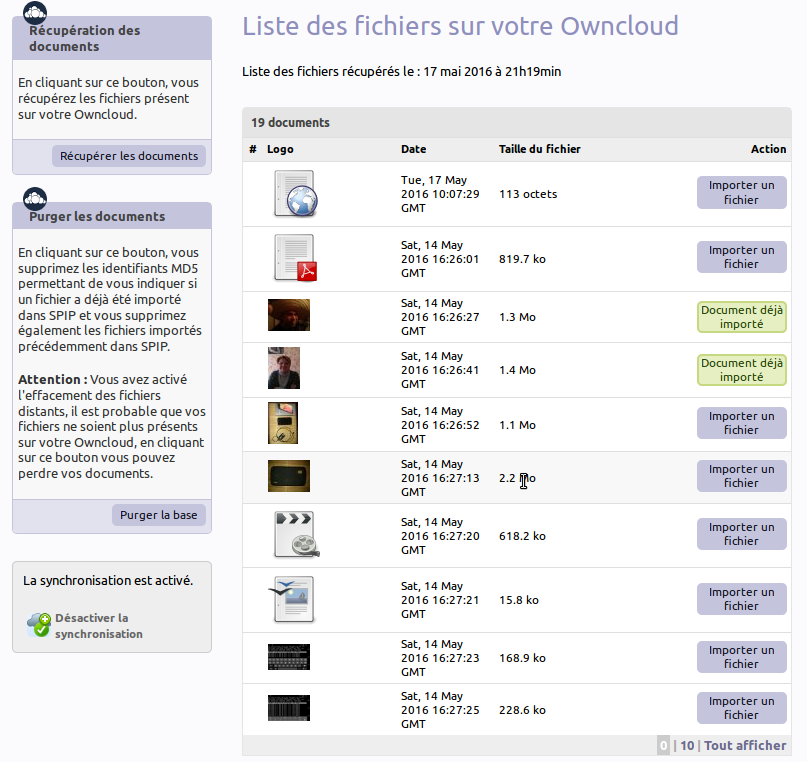 Liste des documents Owncloud